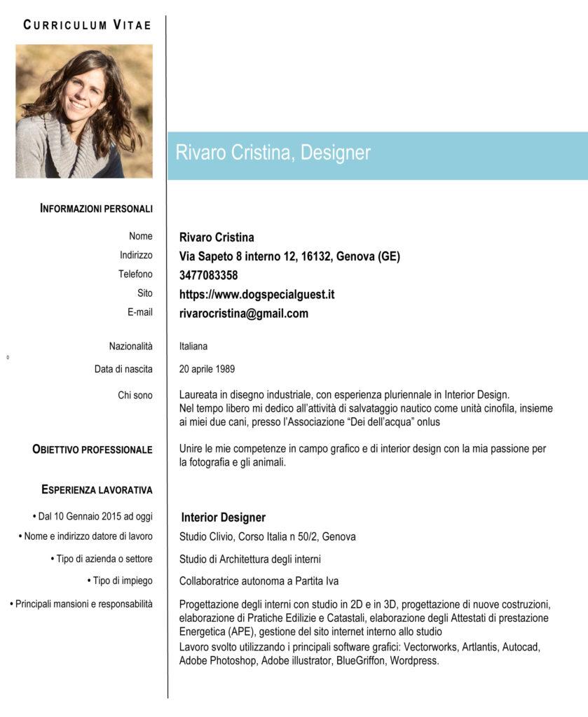 Rivaro Cristina Designer Curriculum Vitae